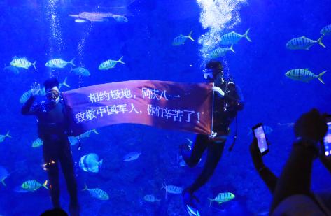 """青岛海昌极地海洋公园驯养员用特殊的方式为军人""""庆生"""""""
