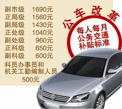 青岛公车改革全面实施 最高月补贴1690元