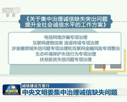 中央文明委组织有关部门开展诚信缺失突出问题集中治理 着力提升全社会诚信水平