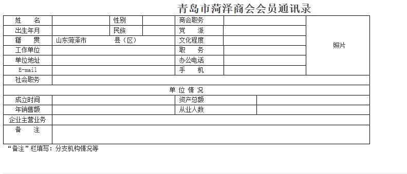 青岛市菏泽商会会员通讯录