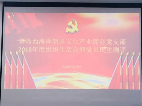 青岛西海岸文化产业商会党支部召开组织生活会和党员民主测评会议